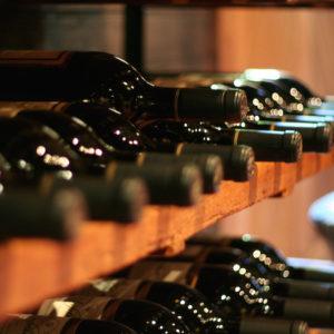 image of wine Bottles on a rack