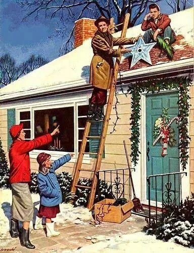 image of family putting christmas lights on the house